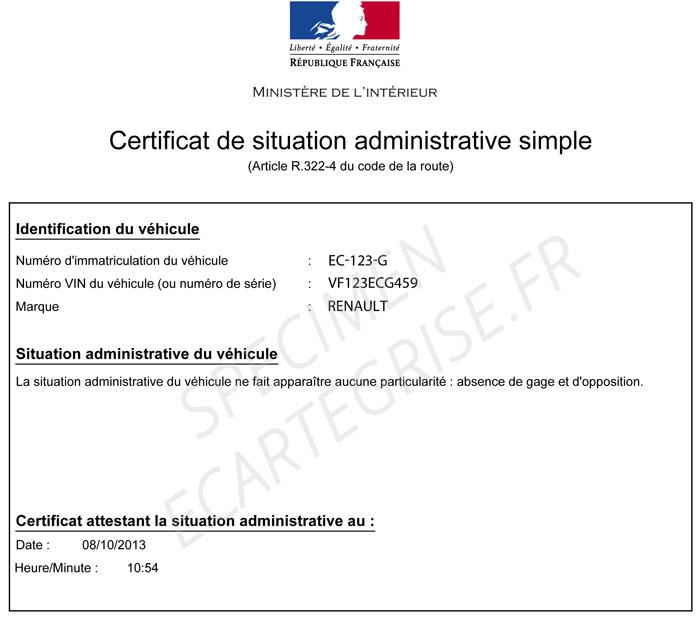 Exemple d'un certificat de non-gage